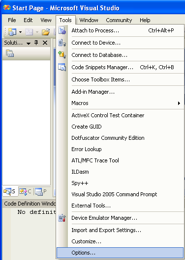 Invoking the Visual Studio 2005 IDE Options page