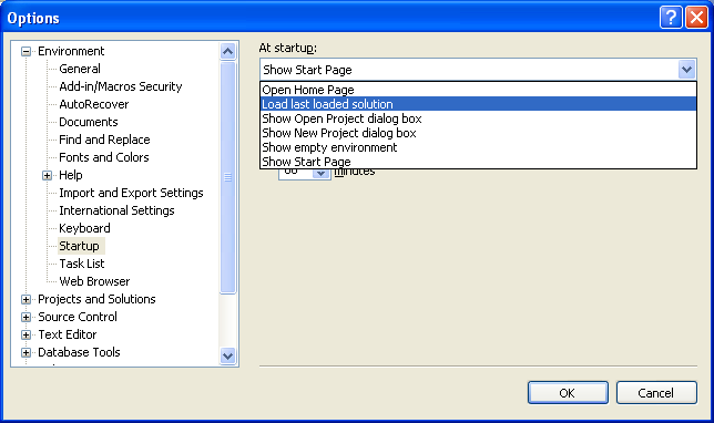 Setting the last loaded solution on the Visual Studio startup page setting.